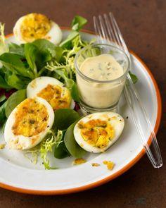 Pan-Crisped Deviled Eggs on French Lettuces by Lynn Rosetto Kasper via saveur #Eggs #Deviled_Eggs
