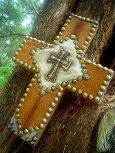 Praying Cowboy COWHIDE Western Decor Barn Wood Cross | Western Decor by Signature Cowboy
