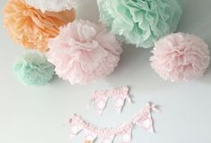 Maggie Collection- 5 Pom Poms- baby girl shower hanging decorations/ wedding shower/ getaway car decoration/ vintage party decorations. $21.00, via Etsy.