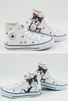 Canvas Sneakers With Kitten Silhouettes - 20 DIY Makeover Sneakers Ideas