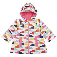 toddler girls raincoats white-pink