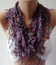Purple  Elegance  Shawl / Scarf with Lacy Edge by womann on Etsy, $16.00