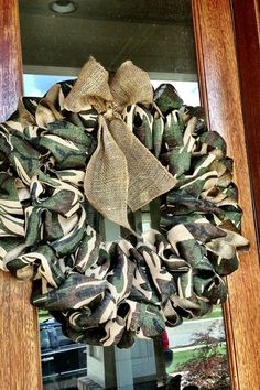 Camouflage Camo Burlap Wreath With Burlap Bow - Hunting Camp, Ranch, Husband gift, Anniversary, Birthday