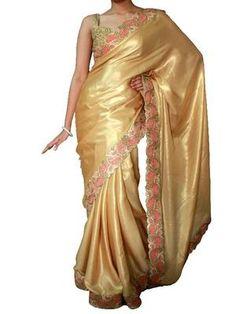 Golden satin saree with cutowork border