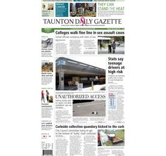 The front page of the Taunton Daily Gazette for Monday, Oct. 6, 2014.