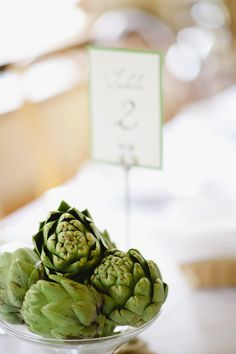 Using artichokes as table centerpieces  Photography By http://aodell.com