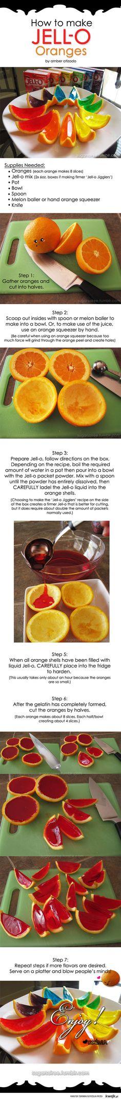 Jello oranges. [Replace 8-10oz cold water (using big box jello) w/ vodka for jello shots!]