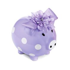 Lavender polka dot piggy bank