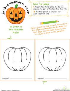 Worksheets: Jack-O-Lantern Face Race