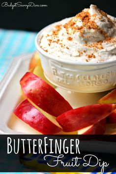 THE BEST Fruit Dip Ever. If you like ButterFingers YOU Need To Make This Dip - gluten - free and done in 5 MINUTES!!!! Pin now and make later - ButterFinger Fruit Dip Recipe #fruitdip #glutenfree #budgetsavvydiva #recipe via budgetsavvydiva.com