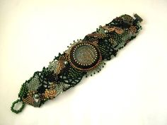 Beaded bracelet Beadwork bracelet Freeform peyote by ibics on Etsy, #beadwork