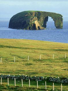 Dore Holm natural arch. Shetland Islands, Scotland.