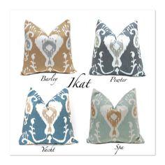 Pillow, Throw Pillow Cover, Decorative Pillow One IKAT Pillows 18 x 18 Ikat Java Spa Java Barley Java Yacht SAME Fabric Front and Back