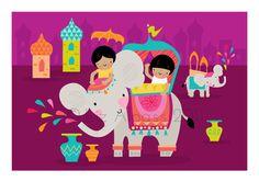 playroom idea, eleph ride, kid illustr, children playroom, kids unisex bedroom, bollywood nurseri, elephant ride, babi priya, artwork