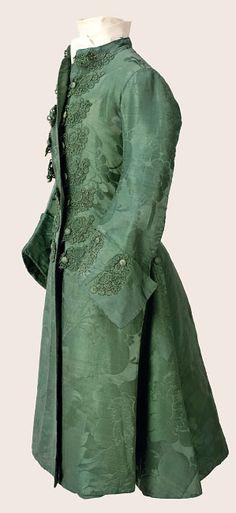Mens green silk banyan, ca 1760 England (ca 1742-43 silk), Cora Ginsburg Collection