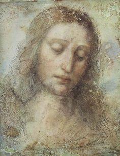 Leonardo, Head of Christ (study for the Last Supper), c. 1495, Pinacoteca Di Brera, Milan.