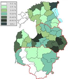 Percentage of Russians in provinces of the Baltic countries