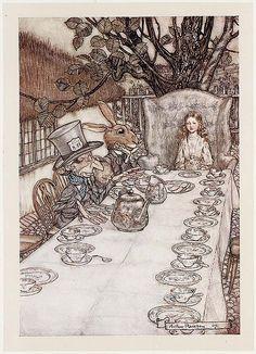 arthur rackham, alic adventur, alice in wonderland, reading books, illustr