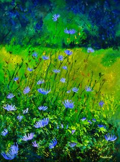 "Pol Ledent; Oil 2013 Painting ""wild cornflowers"""
