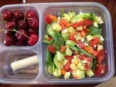 chopped salads, healthy meals, chicken salads, food, healthi, healthy packed lunches, cherries, pack lunch, beauti eat