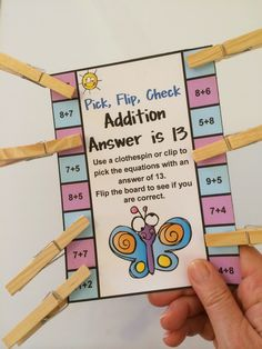Addition Pick, Flip, Check Cards 16 Self Correcting Cards! Kids love to pick, flip and check! $