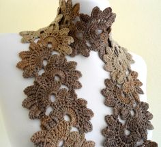 Crocheted coffee Bamboo Lace Scarf