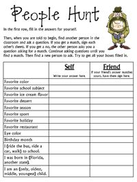 Team - Classbuilding Ideas + People Hunt : Students search for classmates who have matching characteristics and record their answers on this form. An excellent activity for helping students get to know the others in the classroom.  And this activity can develop student's speaking ability. A good little Icebreaker during the First Week of School.