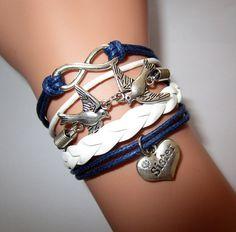 Navy braceletnautical braceletsloving birds by Youchic on Etsy,