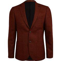 Rust slim fit blazer from River Island. 100% wool.