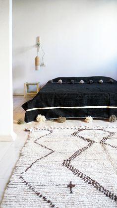 Image of Moroccan POM POM Cotton Blanket Black