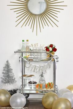 bar cart set up for a party