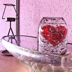 Valentines snow globe from glass jar