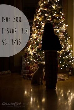 How to take a silhouetted photo in front of the Christmas Tree