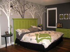 old shutters, color combos, color schemes, bedroom colors, painted trees, diy headboards, bedrooms, guest rooms, tree murals