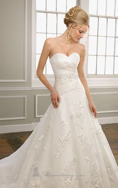 semi dropped waist wedding gown