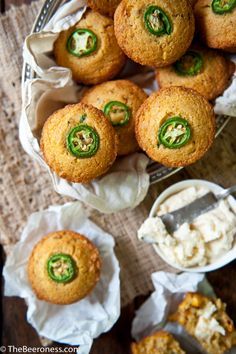 Jalapeño Cornbread Beer Bread Muffins with Salted Beer Honey Butter from The Beeroness