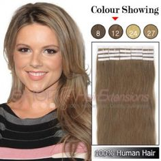 16 Inch 20pcs Tape Premium Remy Human Hair Extensions Straight (#12 Light Golden Brown),£27.01
