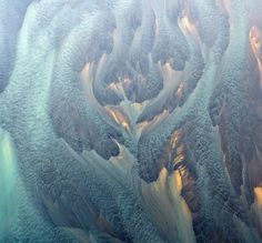 Aerial view of a glacial river in Iceland