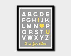 Printable Alphabet Nursery Art 'I Love You' by littleforests, $5.00