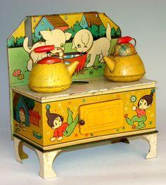 antique toys, antiqu toy, children toys, toy stove, kitchen, vintage toys, tin, elv, vintag toy