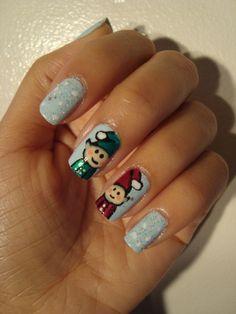 Cute cartoon elf nails nail winter, elf nail, christma idea, nails, christma fingernail, magnific nail, nail art, elves, christma nail