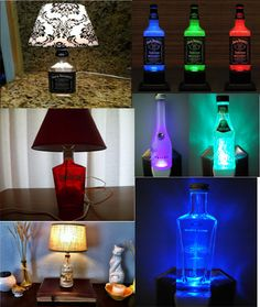 Recycle Reuse Renew Mother Earth Projects: How to make a Liquor bottle Lamp Bottles Lights, Holiday Gift, Wine Bottles Lamps, Mothers Earth, Candles Holders, Liquor Bottles, Diy, Man Caves, Crafts
