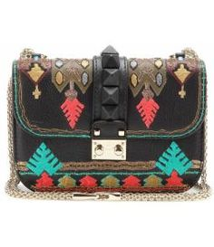 Lock Small Embroidered Leather Shoulder Bag