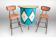 Vintage Mid Century Atomic Snakeskin Diamond Upholstered Teal Naugahyde Tiki Bar with Walnut Bar Stools $750 USD