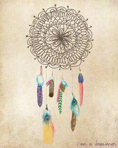 I'm a Dreamer. #Dreamcatcher #Feather #Design #Sketch
