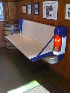 ha! this could be an awesome backyard bench or bar in a man cave... hilarious... I think this is from Tobie Keith's restaurant in Bricktown. Love that place!