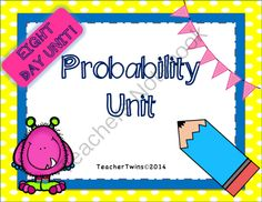 Probability Unit Common Core 7 SP.5, SP. 6, SP. 7, SP. 8 from Teacher Twins on TeachersNotebook.com -  (113 pages)  - This is an 8 day unit on Probability. Each day has a power point that includes a warm-up with answers, notes and a closure of the lesson.