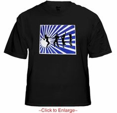 "Shadow Dancers Sound Reactive Light Show T-Shirt. The actual sound-reactive frequency-based lighting pattern of the ""spotlight rays"" makes this shirt totally amazing to look at in use much cooler than the continuous swirl in our picture. These Shadow Dancers shirts use the same technology as our ultra popular Sound Equalizer shirts. Price $24.99"