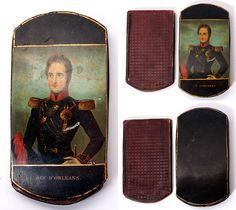 Antique Hand Painted Papier Mache Cigar Case