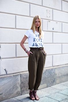 Rolled-up men's trousers with tee.